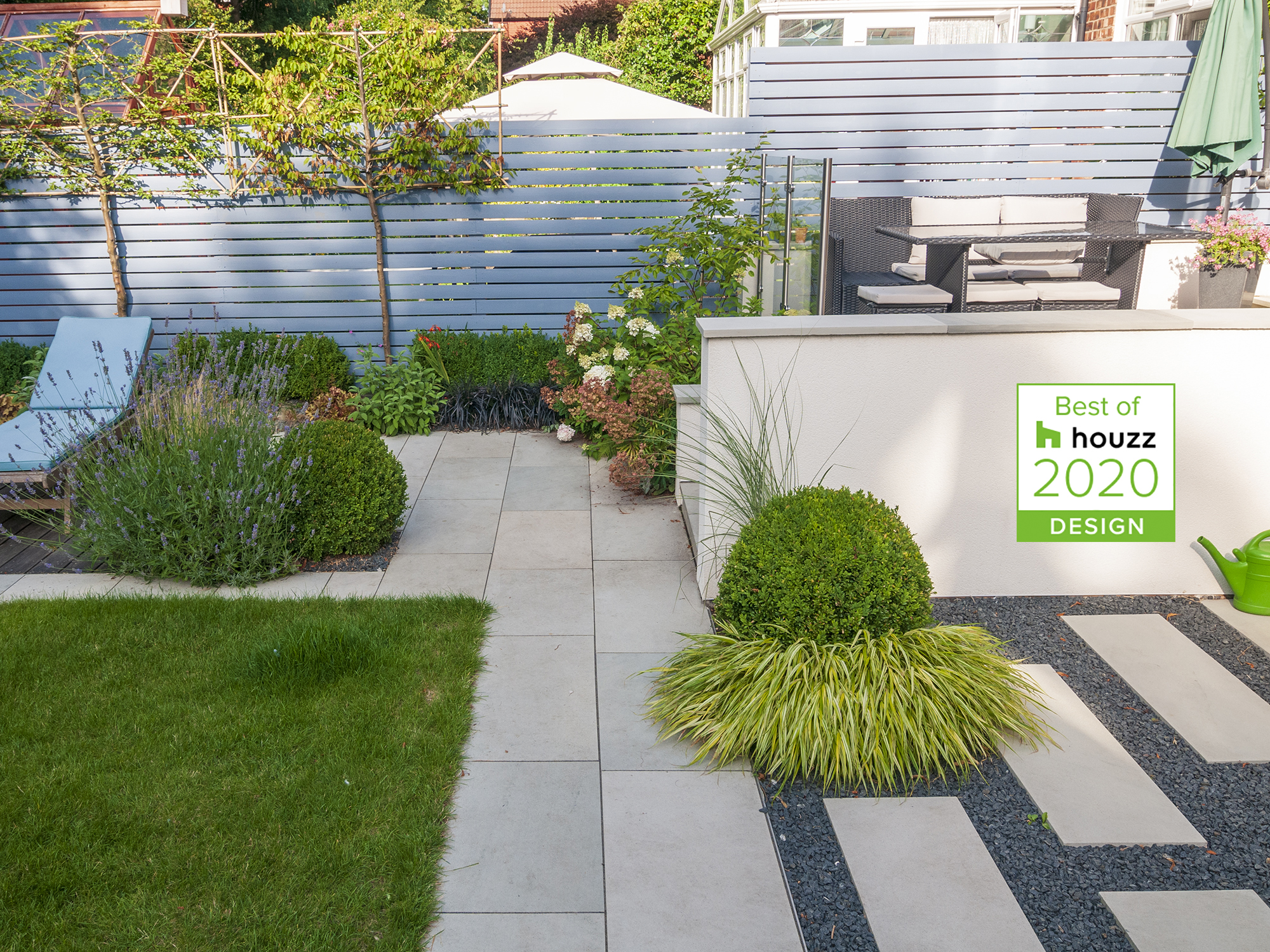 garden with box ball, Japanese forest grass, ophiopogon , Miscanthus, lavender, rattan and japanese stepping stones houzz award 2020