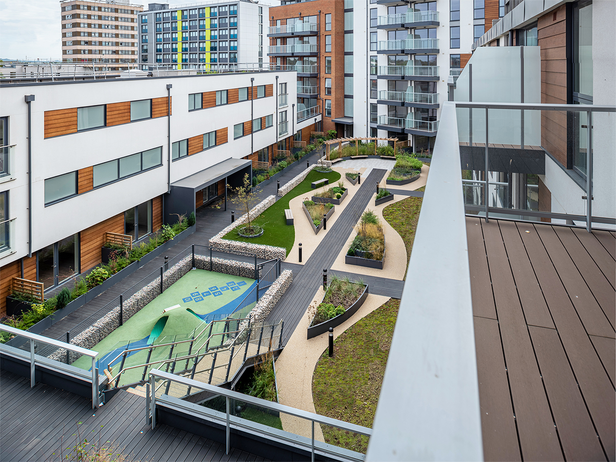 roof park on podium with central axis boardwalk along an array of sinuous shaped raised planters and sedum carpet which contain trees and grasses designed by Natural Dimensions.
