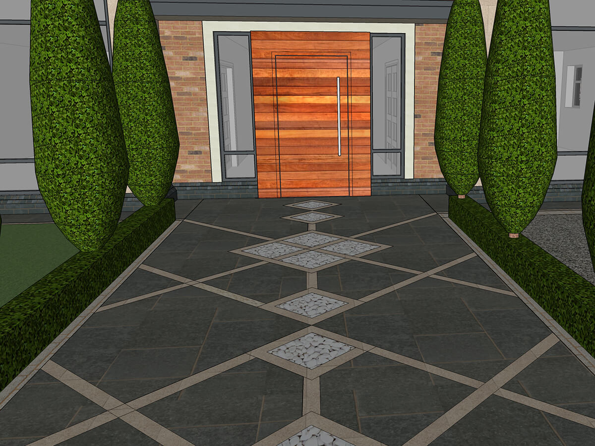 View of paving with blue granite and marble stone with cypress trees box hedge and red cedar door.