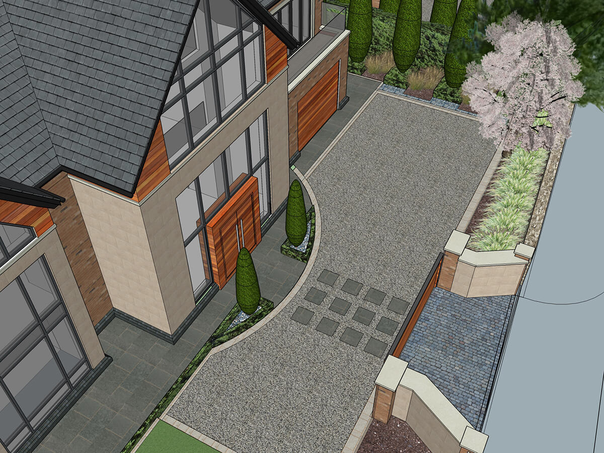 View of driveway entrance with tumbled setts, resin bound gravel, cypress trees, electric gates, pillars and planting.