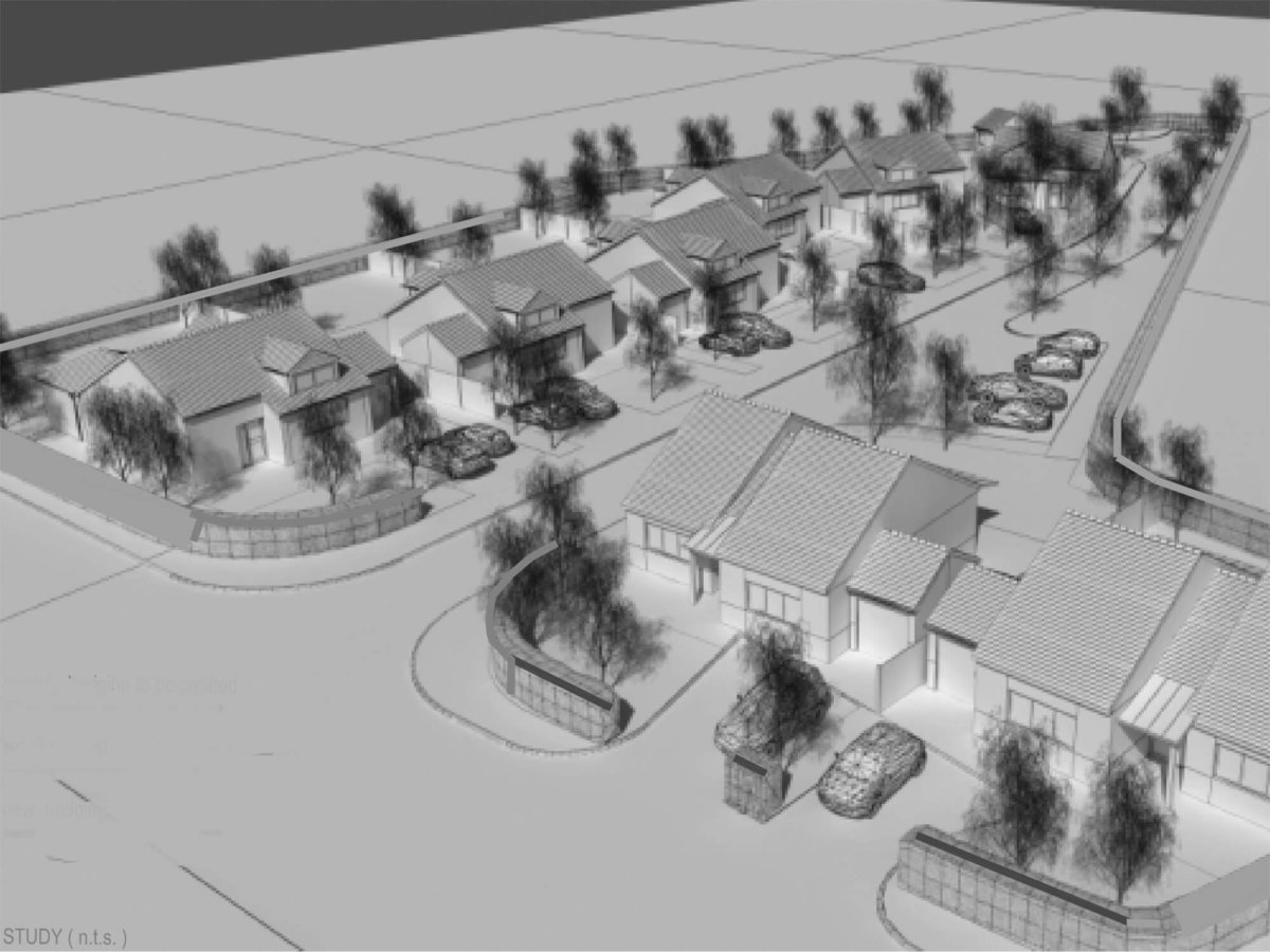 Proposed rural village housing extension with bungalows and buffer woodland planting.