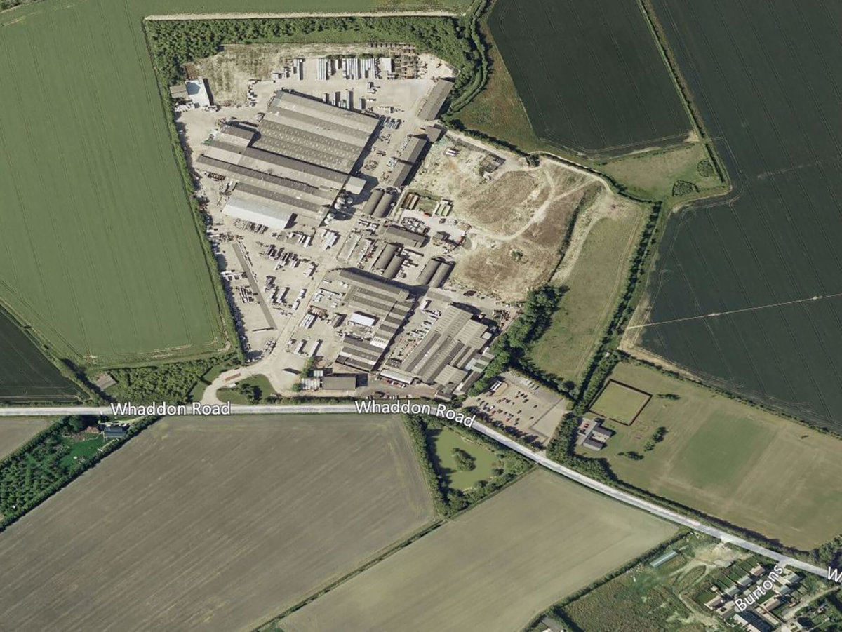 Aerial view of existing Meldreth Marley Eternit concrete factory.