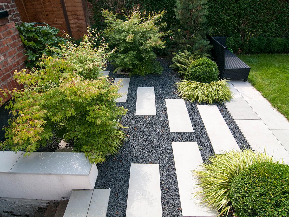 natural dimensions garden design, contemporary japanese garden design, box balls, japanese forest grass, acer katsura, black basalt gravel
