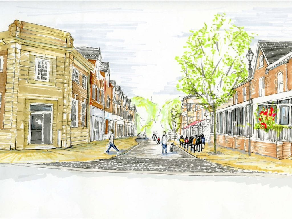 3D perspective sketch of Shaw Road improvements showing pavement widening outdoor cafe and street trees and setted speed hump.