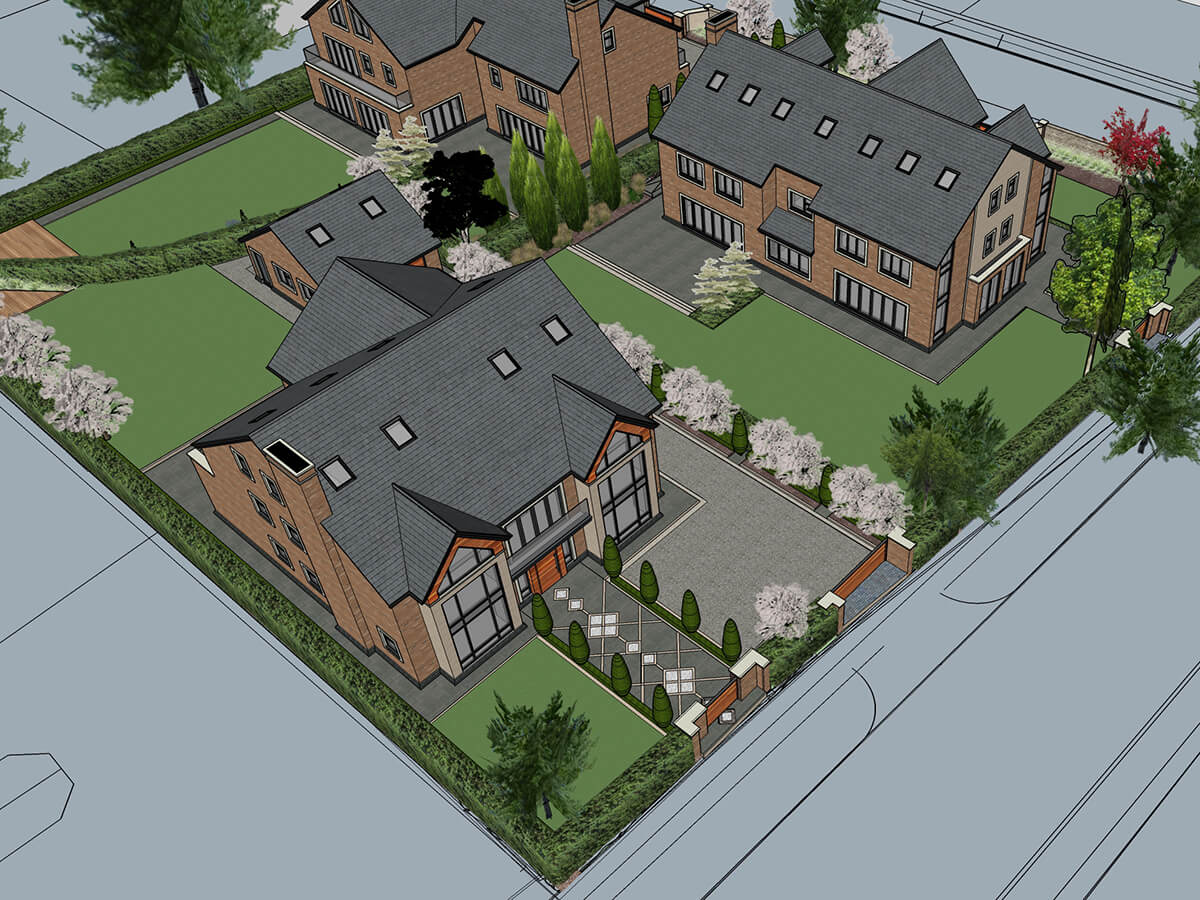 Aerial view showing layout proposal of three luxury detached properties and front and rear gardens with submitted driveways, paving patterns and cherry trees.
