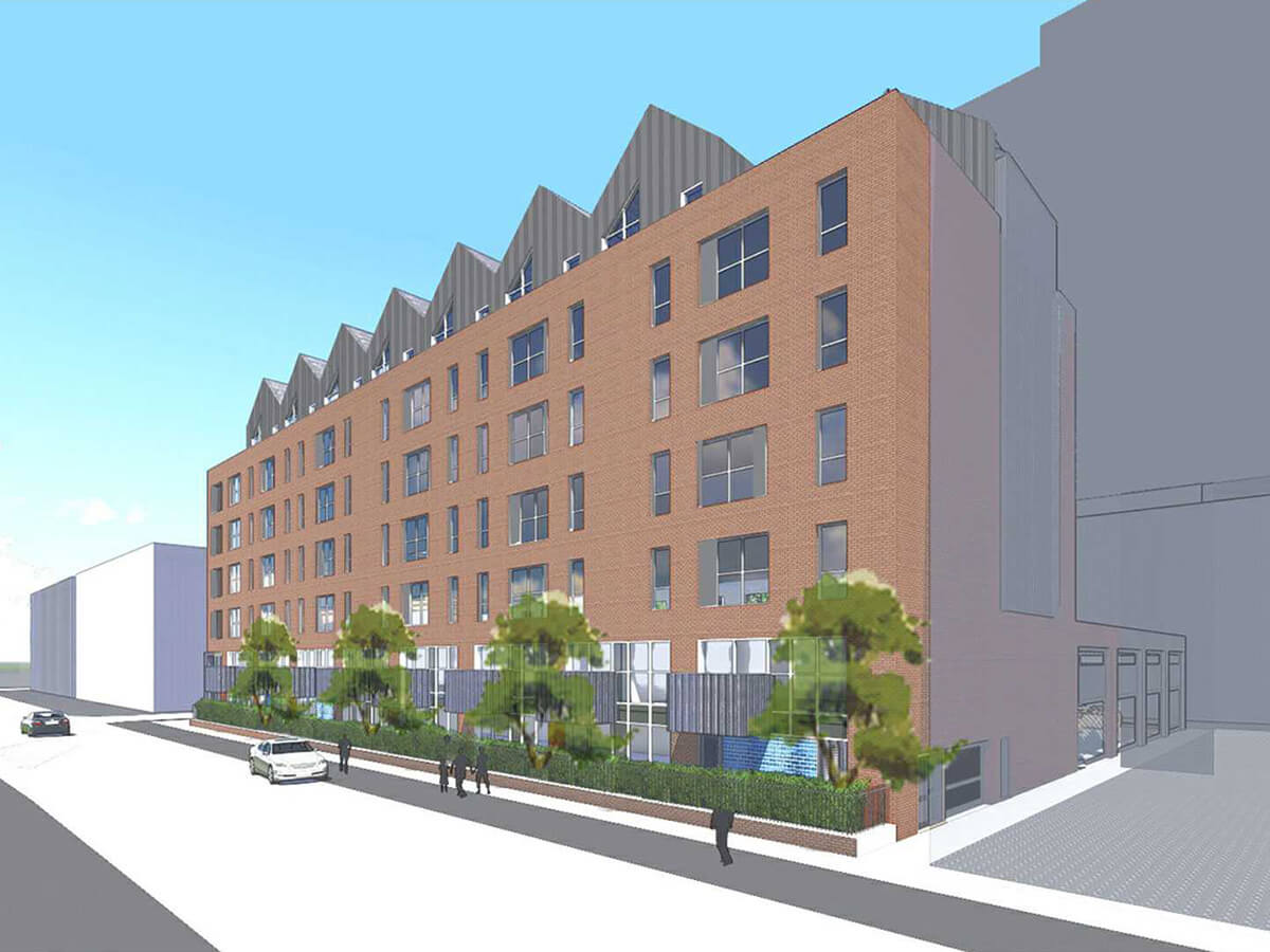 View of apartment frontage landscape treatment and tree avenue.