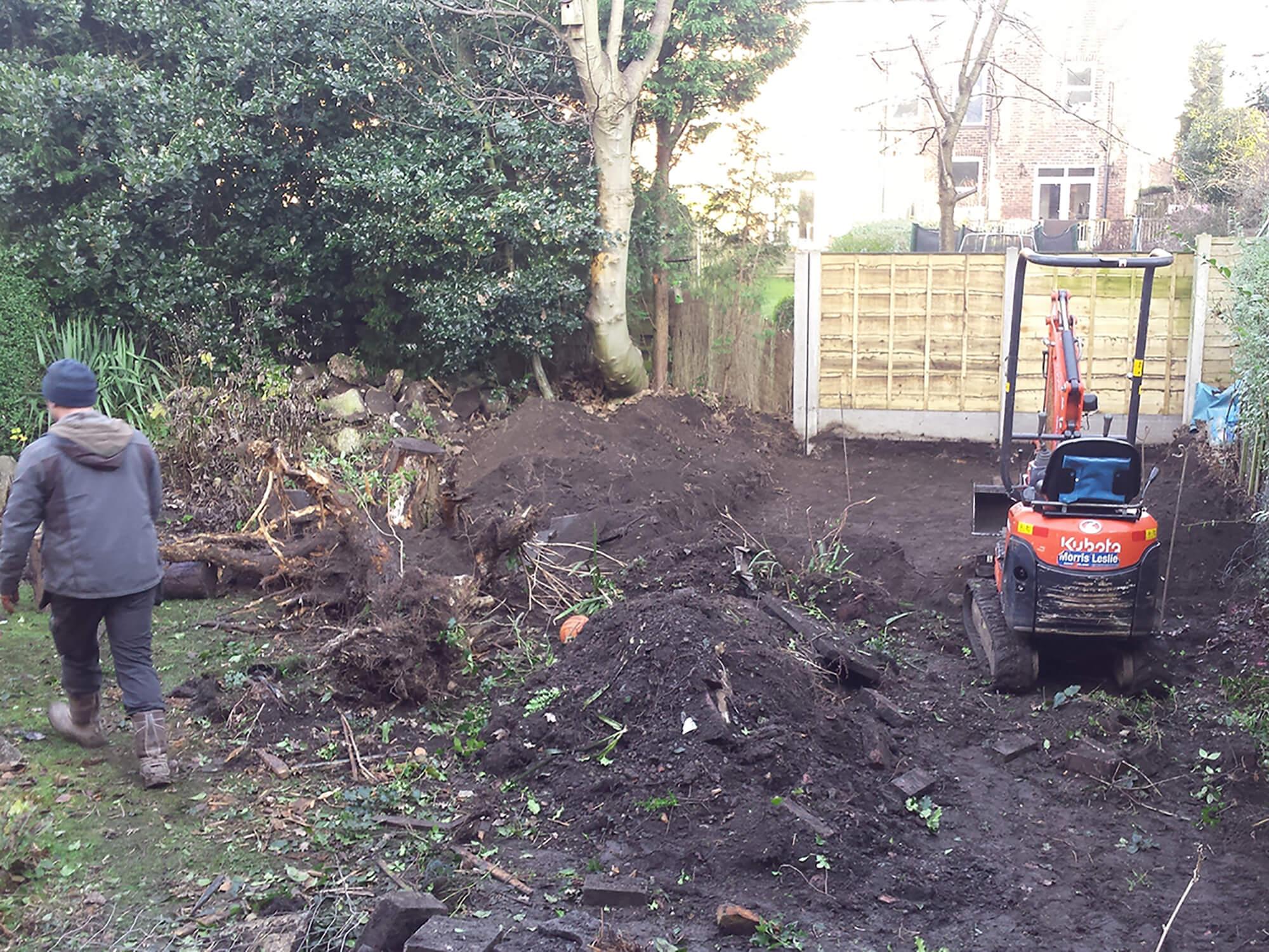 Private residence Heaton Moor garden construction in progress.