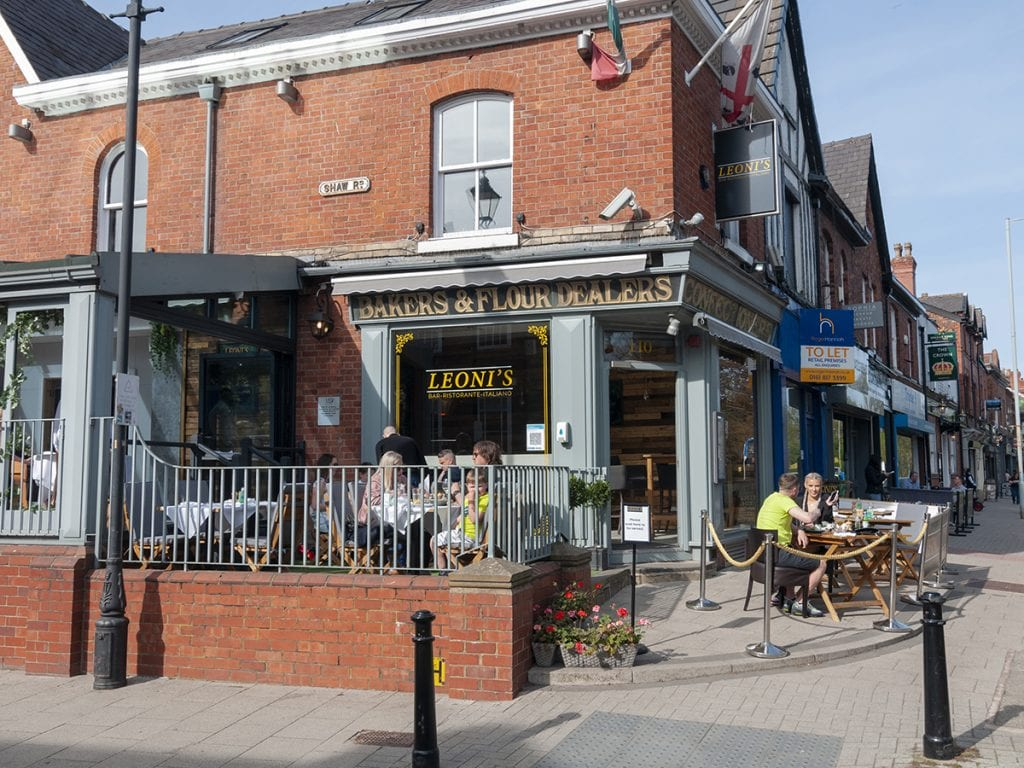 Leoni's outdoor seating street on Heaton Moor Road and Shaw Road