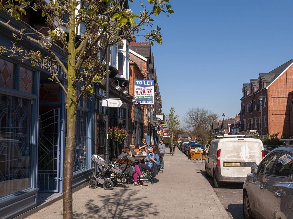 view to Pokusevskis outdoor seating street on Shaw Road