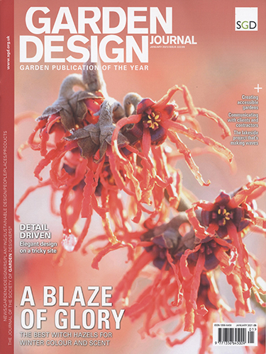 Garden Design Journal front cover December 2020 with witch hazel
