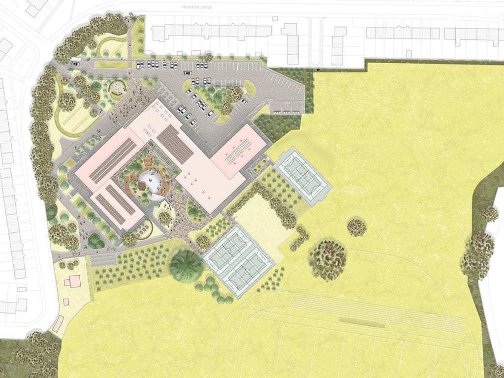 biophilic campus masterplan with woodland, arrival plaza, memorial garden, green courtyard, sports pitches and community orchard